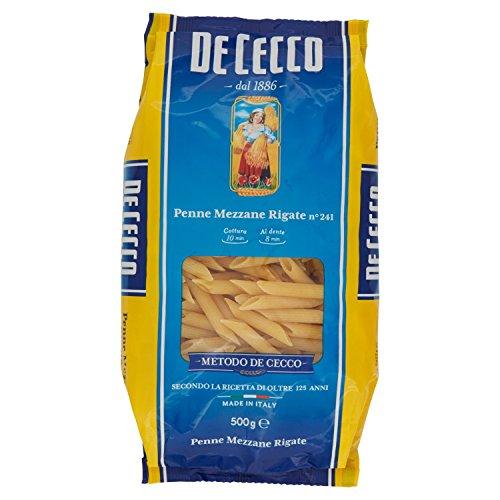 De Cecco Penne Mezzane Rigate, Pasta di Semola di Grano Duro - 500 gr