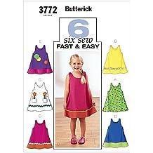 Butterick 3772/4 - Patrones de costura (vestidos para niña, 6 modelos,