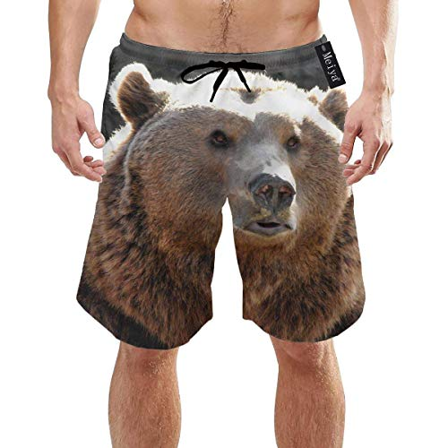 Big Fat Bear Predator Muzzle Mens Summer Swim Trunks 3D Graphic Quick Dry Funny Beach Board Shorts with Mesh Lining - L -
