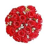 TIREOW Blumenstrauß Romantische Hochzeit Bunte Künstliche Hochzeitsstrauß Rosen Seidenblumen Kunstblumen Blumen Brautstrauß der Braut (D)