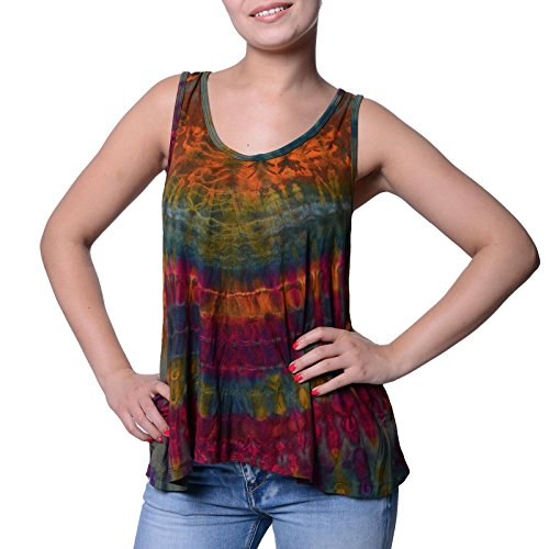 Kunst und Magie Damen Buntes Tie Dye Batik Oberteil Trägertop T-Shirt Tank-Top Hippie Goa, Farbe:Grün, Größe:One Size (Damen Dye T-shirt Grüne Tie)