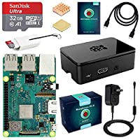 ‏‪ABOX Raspberry Pi 3 B plus Complete Starter Kit with Model B Plus Motherboard 32GB Micro SD Card NOOBS,5V 3A On or Off Power Supply,Black Case,HDMI Cable,SD Card Reader with USB A and USB C,Heatsink‬‏
