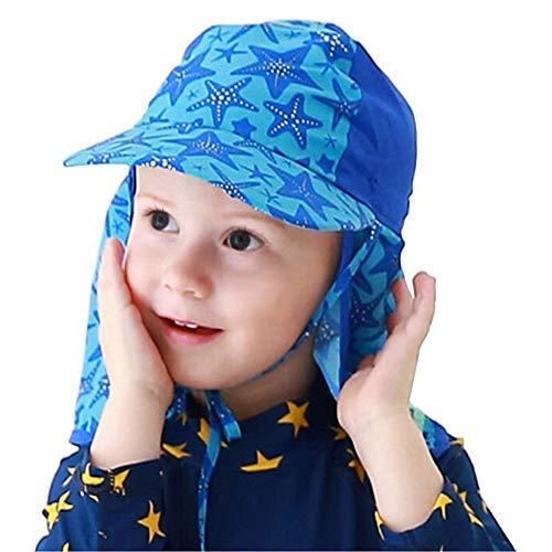 Kinder Badekappe Ohrenschutz Nackenschutz Bademütze UV-Schutz Sonnenschutz Schwimmkappe Sterne Badehaube Breite Krempe schwimmhaube für Schwimmen Dusch Bad Sandstrand Jungen Mädchen 3-12 Jahren