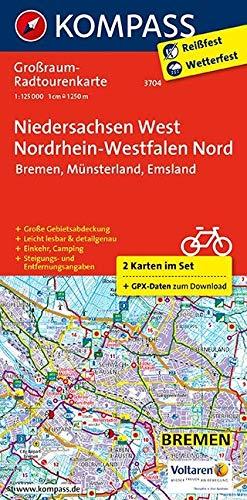 Niedersachsen West, Nordrhein-Westfalen Nord: Großraum-Radtourenkarte 1:125000, GPX-Daten zum Download: 2-delige fietskaart 1:125 000 (KOMPASS-Großraum-Radtourenkarte, Band 3704)