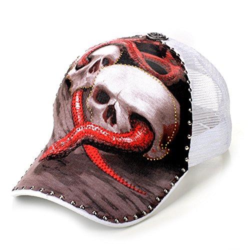 Sense42 Strass Tattoo Special Edition Snake and Skulls Weiß Basecap Mesh Cap Unisex Kappe Schirmmütze One Size (Tattoos Skull Snake)