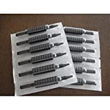 1TattooWorld (40) X STERILIZED ASSORTED (ROUNDS/MAGS/FLATS) TUBES WITH BLACK RUBBER GRIPS 3/4', Grip-40-M34