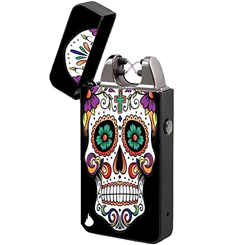 Elektronisches Feuerzeug -The Flame X- USB Feuerzeug Zigarettenanz&uumlnder Elektrische Feuerzeuge Aufladbar Double Lichtbogen (Mexican Skull)