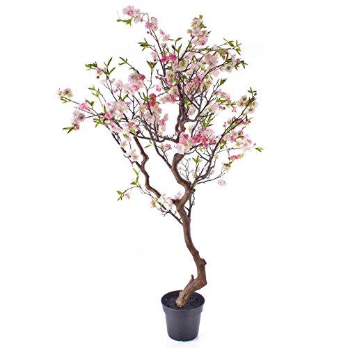 artplants Künstlicher Kirschblütenbaum getopft, rosa, 170 cm – Kleiner Kunstbaum