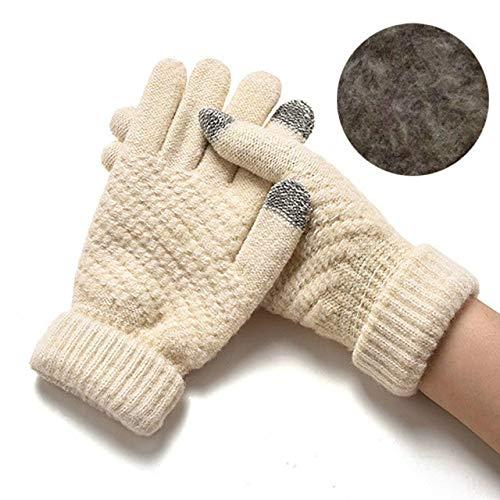 IAMZHL Guanti lavorati a maglia Donna Uomo Bambini Guanti a dita piena d'inverno spessi caldi Guanti per schermo solido all'uncinetto elasticizzati femminili a11