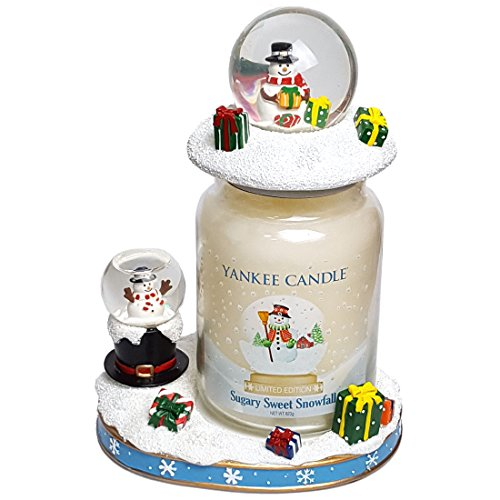 kee Christmas Limited Edition Halterung Geschenk Set–Sugary Sweet Snowfall Große Kerze mit Schneekugel Schneemann Jar Topper (Christmas In A Jar)