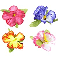 Hibiscus Flower Hair Clips 4 Colors Ass. Accessory for Tropical Hawiian Fancy Dress