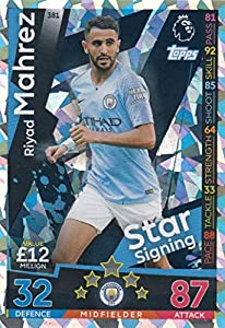 Topps MATCH ATTAX 2018/19 STAR SIGNINGS CARD #381 RIYAD MAHREZ