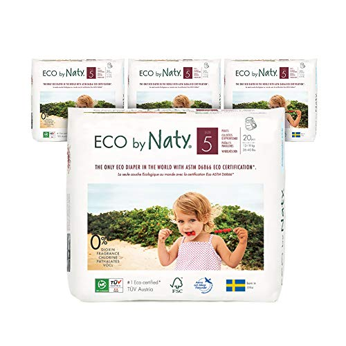 Eco by Naty Pull-Ups Training Pants, Size 5, 80 Diapers, 12-18 kg, One Month Supply, Pull-Ups Based Premium Ecological Pants with No Nasty Chemicals