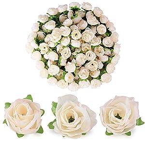 BUONDAC 100pcs Cabezas de Rosa Flores Rosa Artificiales en Seda para Manualidades Decoración de Boda Fiesta Hogar Albaricoque