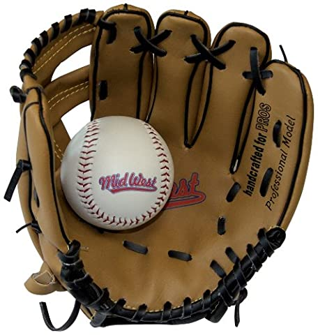 Midwest Kids Glove & Ball Set - Brown/Black, 9 inch