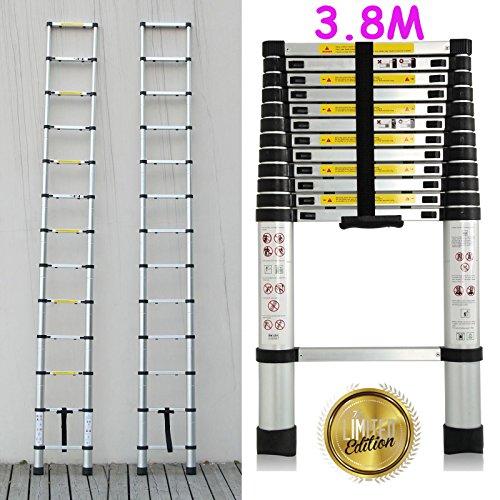 Preisvergleich Produktbild New 3,8m Mehrzweck-Aluminium Teleskop Leiter Verlängerung ausziehbar Baumeister