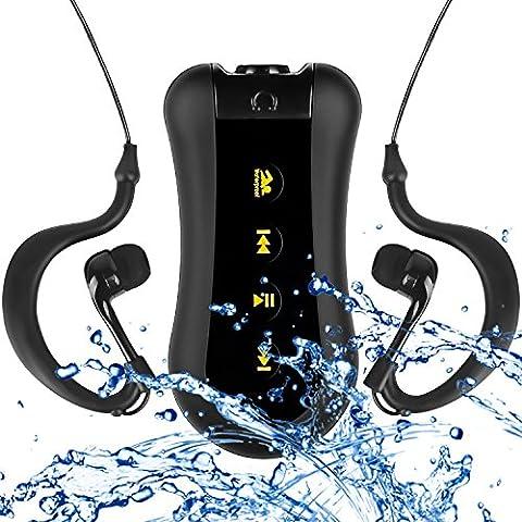 COOSA Waterproof Lecteur MP3 4GB/8GB Waterproof music player conception de clip pour Nager & autres Sports (IPX-68 Standard) Radio FM (1Noir, 8GB)
