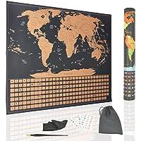 Travel Fun World Mapa de pared con arañazos 580 X 420 mm - Póster de perseguidor de viaje con pegatinas para marcar tu viaje - Con pegatinas + Scratch Tool + Paño de limpieza