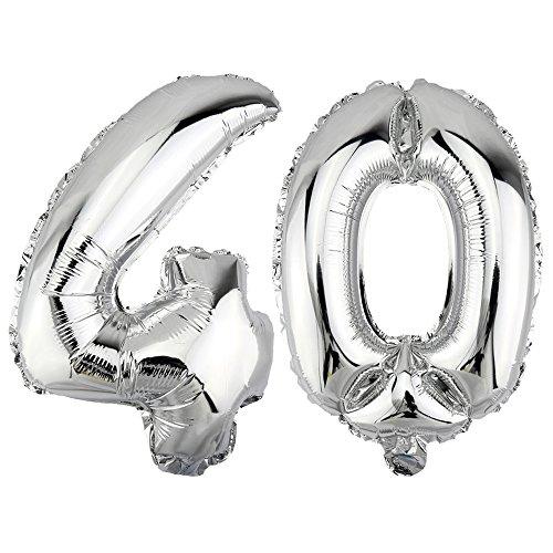 DekoRex 40 Globo en argentado 40cm de Alto decoración cumpleaños para Aire número