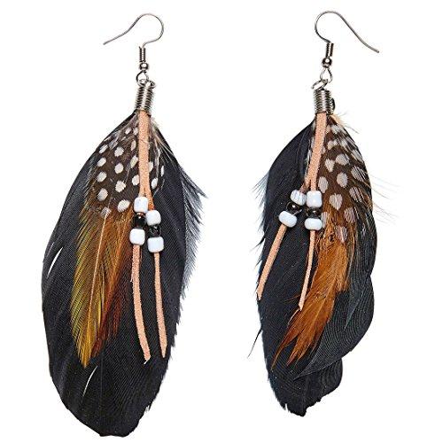 Federohrringe Indianerin Hippie Ohrschmuck Ohrhänger Woodstock Pocahontas Ohrstecker Kostüm Accessoire Damen Indianer Ohrringe mit Federn (Indianer Federn Kostüm)