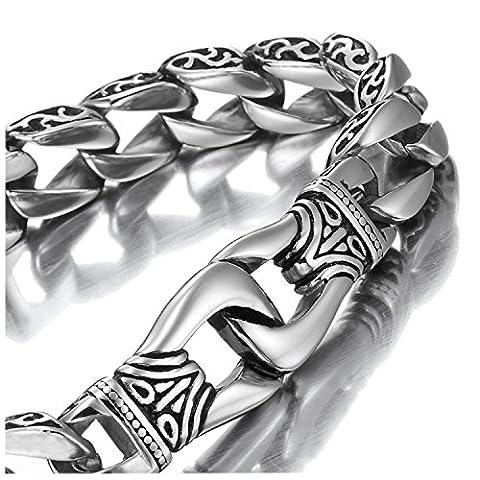 Sagenhaftes Edelstahl Herren Glieder Armband Silber Schwarz 23cm (Mit Marken Geschenkschachtel)