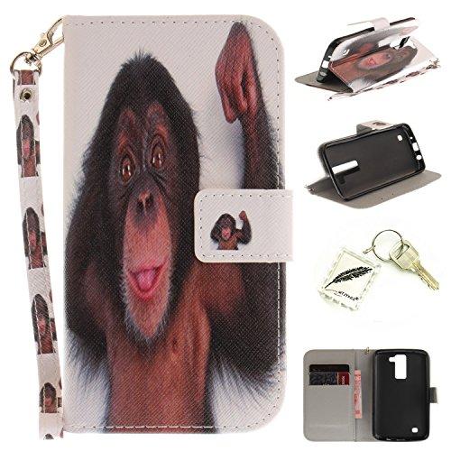 Preisvergleich Produktbild Silikonsoftshell PU Hülle für LG K8 (5 Zoll) Tasche Schutz Hülle Case Cover Etui Strass Schutz schutzhülle Bumper Schale Silicone case+Exquisite key chain X1) #KE (11)