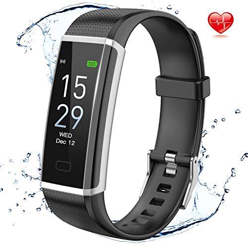 Delishee Fitness Armband Wasserdicht IP68 Fitness Trackers mit Pulsmesser Aktivitätstracker Kalorienzähler ,Pulsuhren,Schrittzähler, Vibrationsalarm Anruf SMS für iOS Android Handy,Schwarz