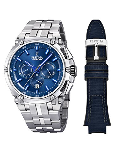 Festina CHRONO BIKE 2016 Men's Quartz Watch with Blue colour Dial Chronograph Display and Stainless steel Bracelet F16971/3