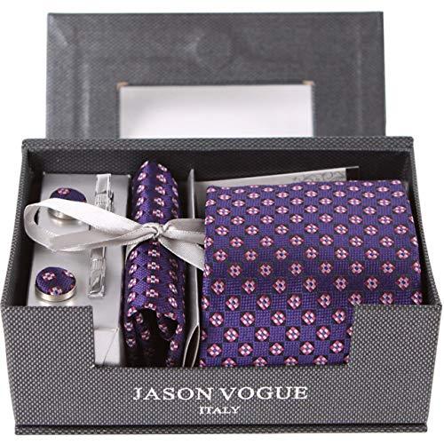 BAIJJ 9cm Krawattenetui mit Manschettenknöpfen aus schwarzem, pinkfarbenem Blumenkaro im Geschenkkarton