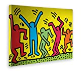 Giallo Bus 32 Quadro Stampa Su Tela Canvas, Keith Haring, The Dancers, Pop Art, 50 x 70 cm