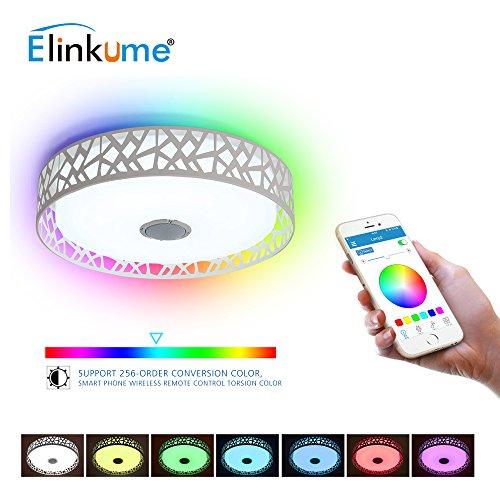 LED-Deckenleuchte ELINKUME 36W (28W LED +8 W RGB) + 10W hohe Tonqualität Lautsprecher, Musik Deckenlampe, Smartphone APP Kontrolle Dimmen Bluetooth Deckenleuchte, LED bunte Deckenleuchte [AC220V, Energieniveau A ++] Hohe Lautsprecher