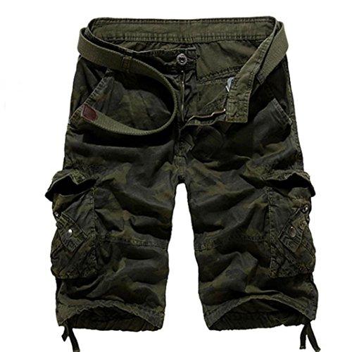 Twill Herren Cargo Pocket Shorts (Männer Multi-Pocket-Slim Fit Baumwolle Twill Cargo Shorts, ❤️Latzhose Gürtel Wyoming Cargo Short (Armeegrün, 38))