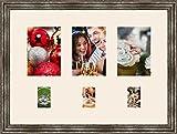 Cadres photos pêle mêle multivues Chantilly 3 photo(s) 13x18 and 3 photo(s) 6x9 Passe Partout, Cadre photo mural 53x39 cm Argent Elégant, 3.3 cm de largeur
