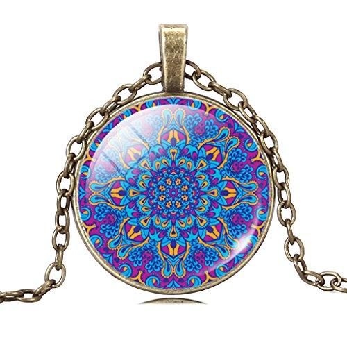 Jiayiqi Frauen Mystische Mandala Malvorlagen Anhänger Vintage Bronze Kette Halskette Schmuck