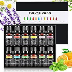 WOSTOO Aceites Esenciales,12x10ml Aromaterapia Aceite de Fragancia 100% Natural Pura Aceites Set (Lavanda, árbol de té…
