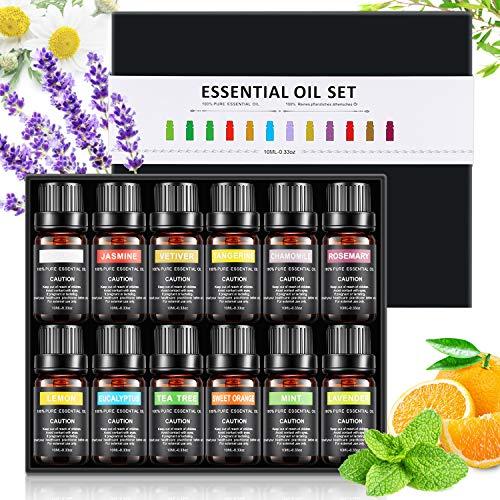 olio essenziale set, 100% puri qualità aromaterapia oli kit(lavanda, tea tree, menta, arancia dolce, limone ect) ideale per massaggi, aromaterapia, lenitivo, decompressione - 12 bottiglia regalo