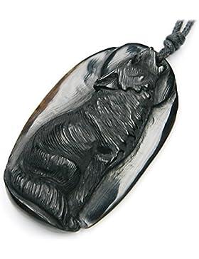 Wolf Schmuck aus Horn, Anhänger geschnitzt, inkl. schwarzem Textilband, 4,5cm lang