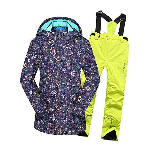 Cvbndfe Costumes de Neige pour Enfants Veste de Ski à Capuchon imperméable Coupe-Vent pour Fille avec Pantalon 2 pièces Chaud (Couleur : Jaune, Taille : 170/176)
