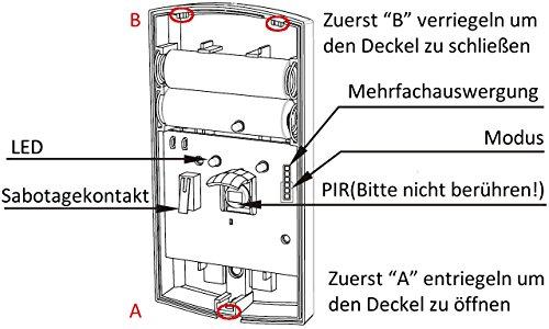 HiKam+: HiKam externe PIR Sensor (Passiv Infrarot Sensro) mit 433MHz Funkverbindung. Zubehöre für HiKam Kamera Q7 / A7. - 3