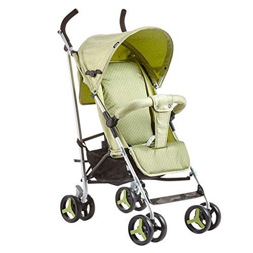 Anna Baby-Spaziergänger-Reise-System Multifunktions Baby Carts Light kann sitzen Liegen Baby Trolley Suspension vier Runden Regenschirm Auto tragbare Kinderwagen Verstellbarer Kinderwagen Kinderwagen ( Farbe : Grün )