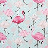 Türkiser Flamingo Blätter Tier Stoff Timeless Treasures