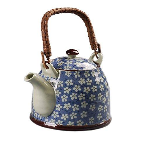 Japanese Style Porzellan-Teekanne, Plum Blossom 30 OZ, BLAU