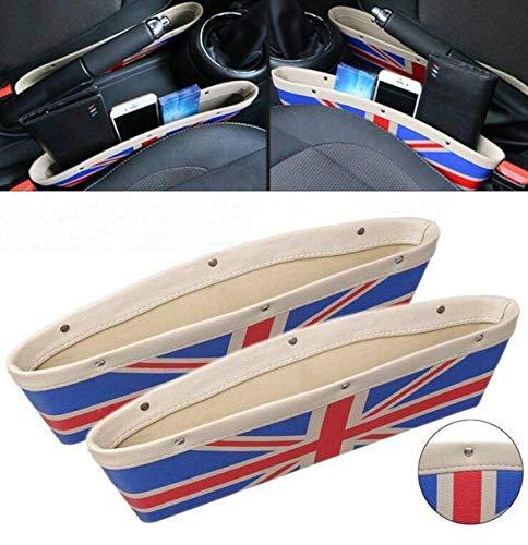 Sunshine Fly 2 stücke Autositz Gap Anti-Leck Tasche Aufbewahrungsbox Für Mini Cooper Countryman Clubman R55 R56 R57 R58 R59 R60 R61 Auto Zubehör (Beige)