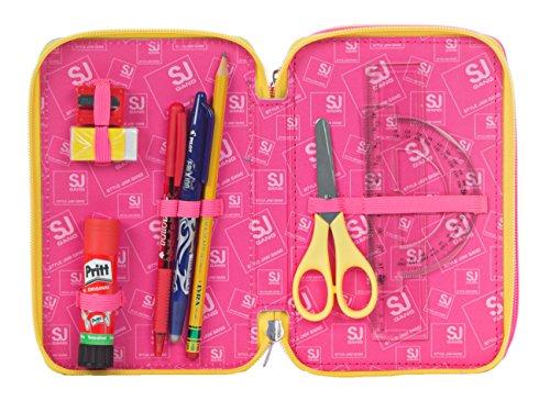 Estuche escolar 3 compartimentos SEVEN – SJ GIRL – 3 pisos – rosa amarillo- con lápiz, marcadores, boligrafos..