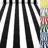 TOLKO Sonnenschutz CLASSIC Markisen-Stoff Meterware zum Nähen mit UV-Schutz 50+ | Wasserdicht, Extra Langlebig - ohne Ausbleichen, 120cm Breite (Schwarz-Weiß)