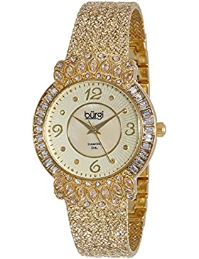 Bürgi BUR120YG Damen-Armbanduhr, goldfarben, mit strukturiertem Uhrenband und kristallbesetzter Lünette.
