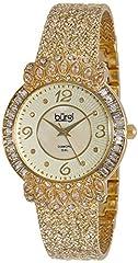Idea Regalo - Burgi Women BUR120YG Orologio color oro con cinturino a trama e lunetta tempestata di cristalli