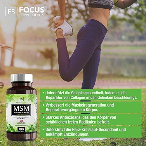 Integratore MSM (metilsulfonilmetano) | Senza glutine, vegano | Vitamina C | 180 capsule | Focus Supplements | VELOCIZZA IL RECUPERO MUSCOLARE | Supporto antiossidante e per le articolazioni