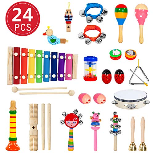 24 Stück Musikinstrumente Holz Percussion Set Schlagzeug Schlagwerk Spielzeug Set Kinder Schlaginstrument Musikalisches Vorschulunterricht Pädagogisches Xylophone Osterei für Mädchen und Jungen