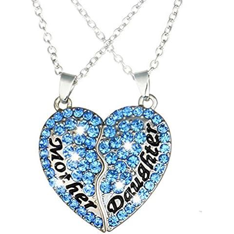 Gudeke Madre e hija El apartado de paternidad Mosaico En forma de corazón colgante de diamante Collar Regalo Día de la Madre (Azul)